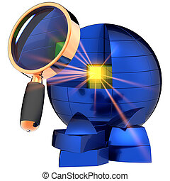 Deep data search. I have found it! - Golden shiny cube with...