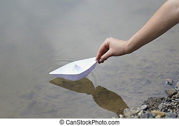 paper boat childhood float toy river