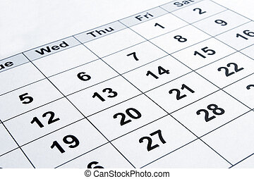 calendar - close up of calendar