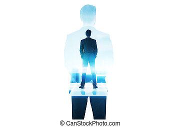 Businessman on blue building multiexposure