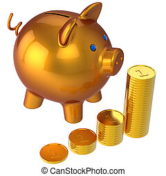 Piggy bank and stacks of coins (Hi-