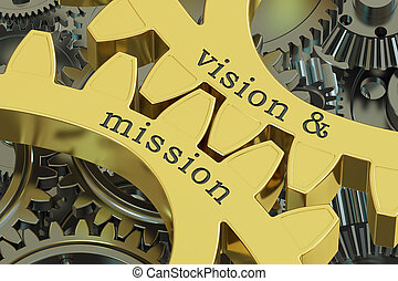 Vision & mission concept on the gearwheels, 3D rendering