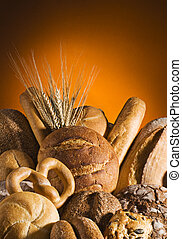 Bread - Mixed bread with orange background close up