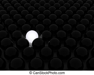 Balls - Illustration of black balls, with one white inside