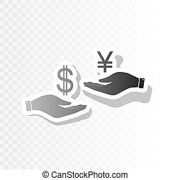 Currency exchange from hand to hand. Dollar and Yen. Vector. New year blackish icon on transparent background with transition.