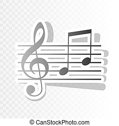 Music violin clef sign. G-clef and notes G, H. Vector. New...