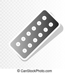 Medical Pills sign. Vector. New year blackish icon on transparent background with transition.
