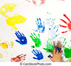 Fingerpaint - White paper with child handprints