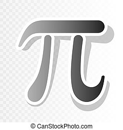 Pi greek letter sign. Vector. New year blackish icon on...