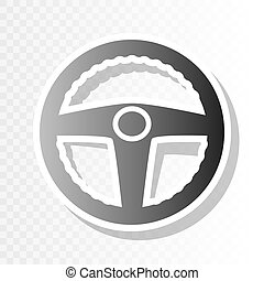 Car driver sign. Vector. New year blackish icon on transparent background with transition.