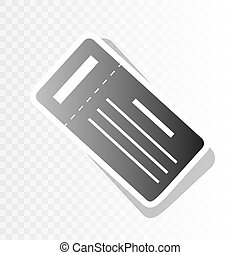 Ticket simple sign. Vector. New year blackish icon on...
