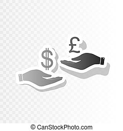 Currency exchange from hand to hand. Dollar and Pound. Vector. New year blackish icon on transparent background with transition.