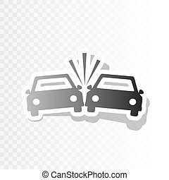 Crashed Cars sign. Vector. New year blackish icon on...