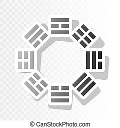 Bagua sign. Vector. New year blackish icon on transparent...