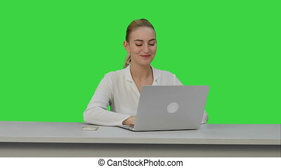 Happy businesswoman enjoy working on laptop computer,...