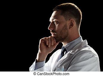 doctor or scientist in white coat - medicine, science,...