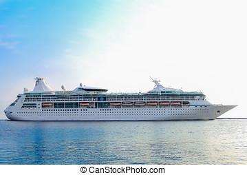 White cruise ship underway