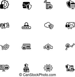Security and Protection Icons Set. Isolated Illustration....