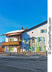 Chalet in Bavarian style at winter Garmisch Partenkirchen...