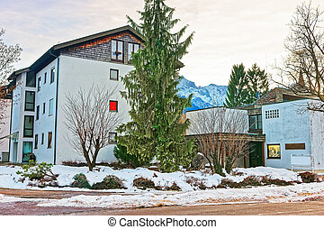 Building in Bavarian style in winter Garmisch Partenkirchen...