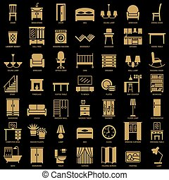 Room furniture silhouette icons set vector - Room modern...