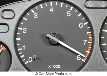 tachometer in red sphere