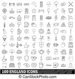 100 England icons set, outline style
