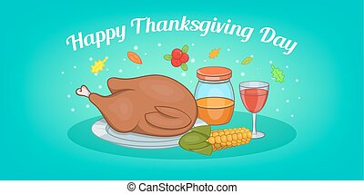 Thanksgiving meat horizontal banner, cartoon style