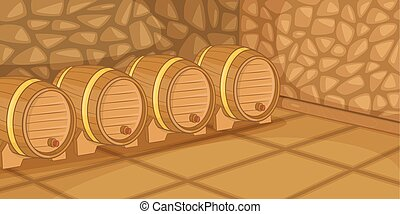 Beer cellar horizontal banner, cartoon style - Beer cellar...