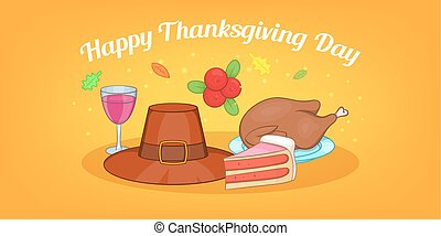 Thanksgiving day horizontal banner, cartoon style