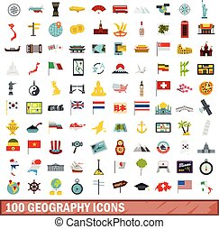 100 geography icons set, flat style