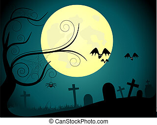 Cemetery - Vector picture about cemetery and full moon