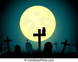 Cemetery - Vector picture about cemetery and full moon.