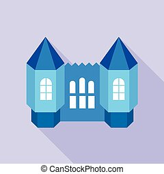 Blue fortress towers icon, flat style