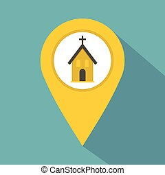 Yellow map pointer with church sign icon
