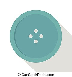 Light blue sewing button icon, flat style - Light blue...