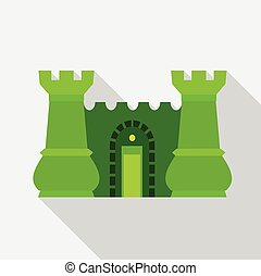 Green ancient fortress with towers icon flat style