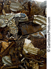 Crushed Steal prepared for recycling.