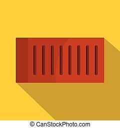 Orange brick icon, flat style - Orange brick icon. Flat...
