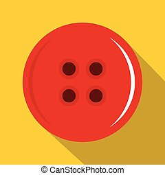 Red sewing button icon, flat style - Red sewing button icon....