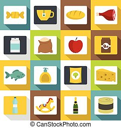 Shop navigation foods icons set, flat style