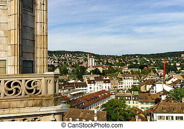 Roofs in Zurich city center from Grossmunster - Panoramic...