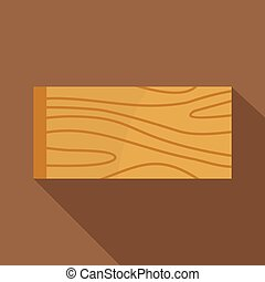 Wooden plank icon, flat style - Wooden plank icon. Flat...