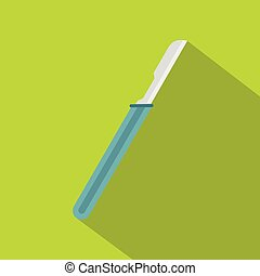 Scalpel with blue handle icon, flat style - Scalpel with...