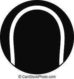 Black and white tennis ball icon, simple style - Black and...