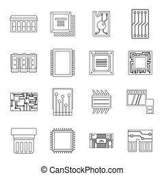 Computer chips icons set, outline style