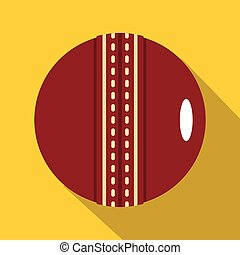 Red leather cricket ball icon, flat style - Red leather...