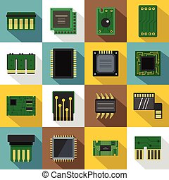 Computer chips icons set, flat style