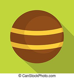 Brown with yellow stripes icon, flat style - Brown with...