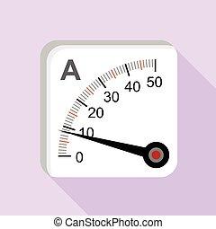Moving iron type analog panel ammeter icon. Flat...